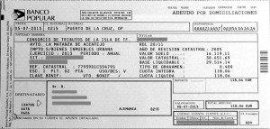Der alte Grundsteuerbeleg. Contribución Urbana oder IBI genannt.