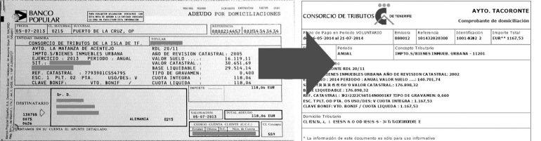 Wie man jetzt den Bankbeleg des Consorcio de Tributos liest