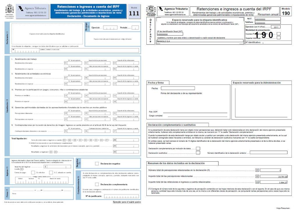 Die Steuerabgabemodelle 111 und 190. Wie sehen die Modelle aus und wer muss diese einreichen?