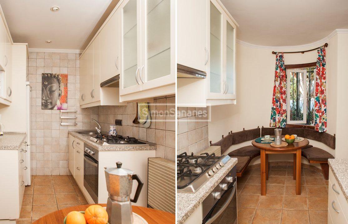 Küche und Ess-Ecke.Eingang und Ess-Ecke