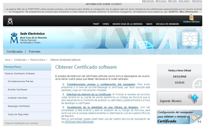 Elektronisches Zertifikat bei FNMT CERES erlangen_Spanien